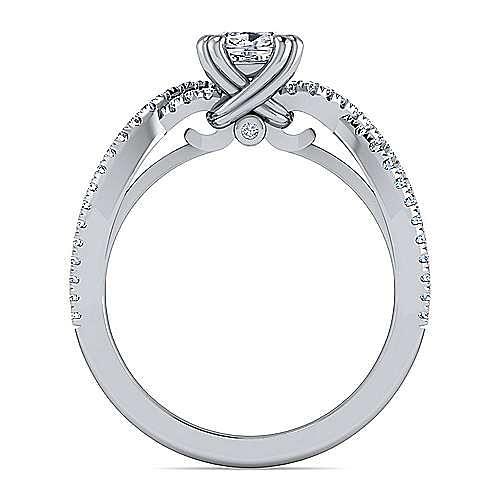 Platinum Twisted Cushion Cut Diamond Engagement Ring