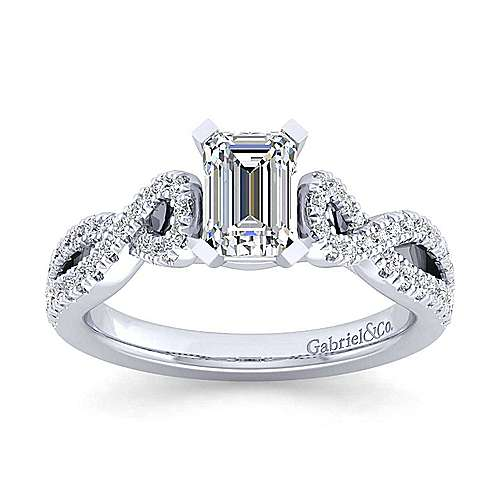 Platinum Twisted Emerald Cut Diamond Engagement Ring