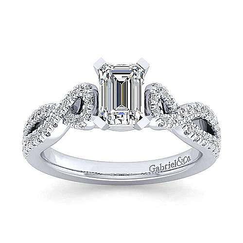 Platinum Twisted Emerald Cut Diamond Engagement Ring