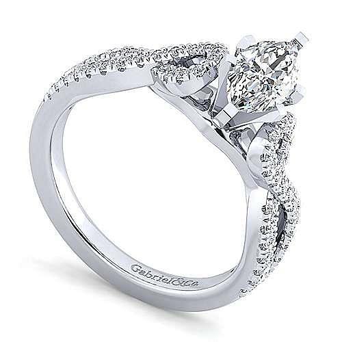 Platinum Twisted Marquise Shape Diamond Engagement Ring
