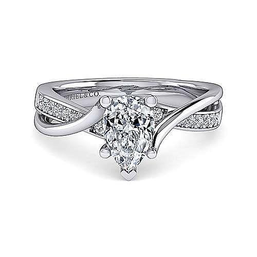 Platinum Twisted Pear Shape Diamond Engagement Ring