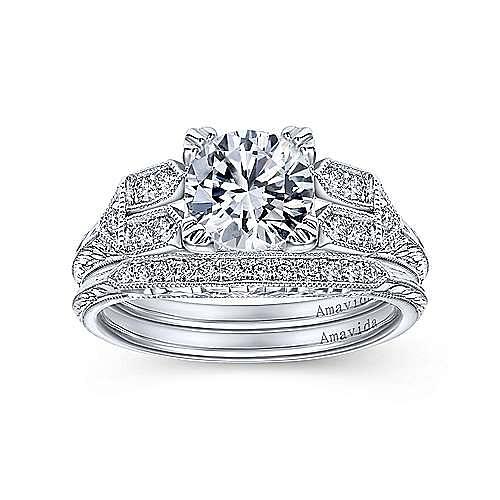 Platinum Victorian Curved Wedding Band angle 4
