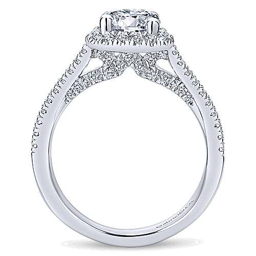 Poppy 14k White Gold Round Halo Engagement Ring angle 2