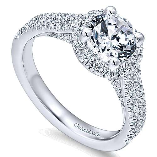 Poppy 14k White Gold Round Halo Engagement Ring angle 3