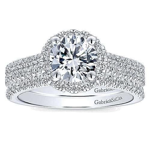 Poppy 14k White Gold Round Halo Engagement Ring angle 4