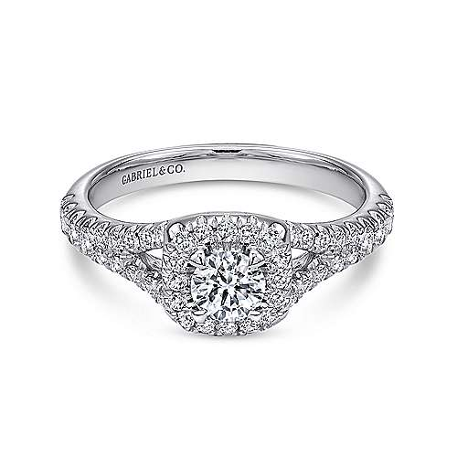 Gabriel - Portia 14k White Gold Round Halo Engagement Ring