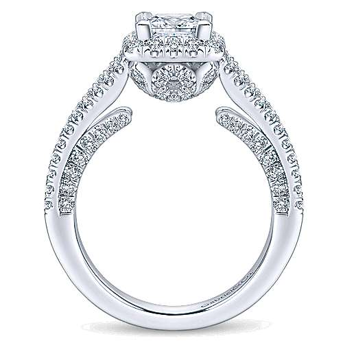 Porto 14k White Gold Princess Cut Halo Engagement Ring angle 2