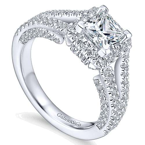 Porto 14k White Gold Princess Cut Halo Engagement Ring angle 3
