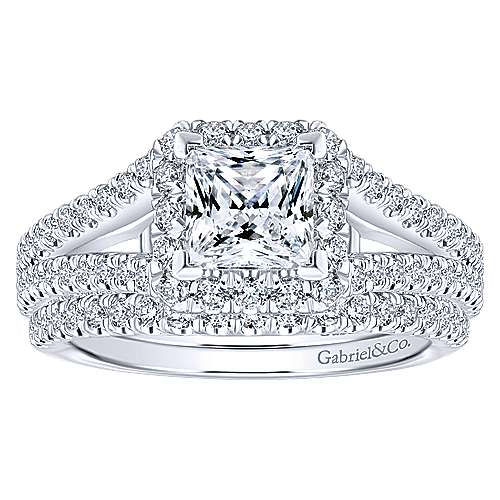 Porto 14k White Gold Princess Cut Halo Engagement Ring angle 4
