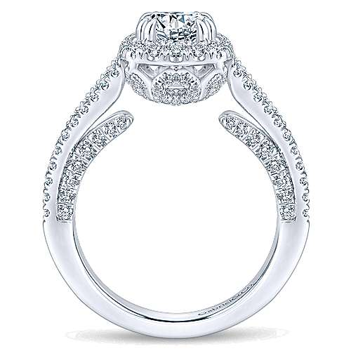 Porto 14k White Gold Round Halo Engagement Ring angle 2