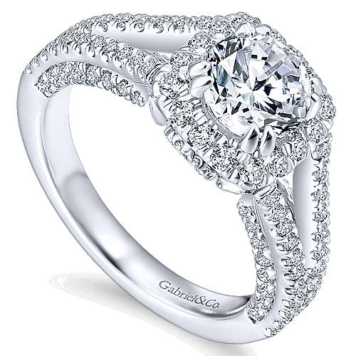 Porto 14k White Gold Round Halo Engagement Ring angle 3