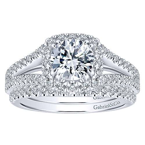Porto 14k White Gold Round Halo Engagement Ring angle 4
