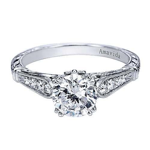 Gabriel - Posh Platinum Round Straight Engagement Ring