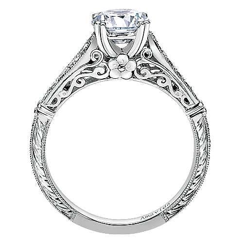 Posh Platinum Round Straight Engagement Ring angle 2