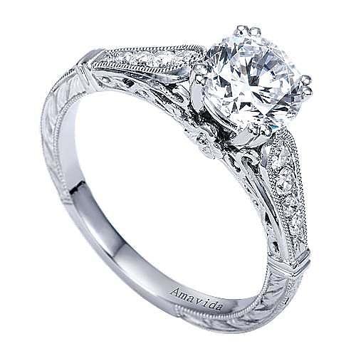 Posh Platinum Round Straight Engagement Ring angle 3