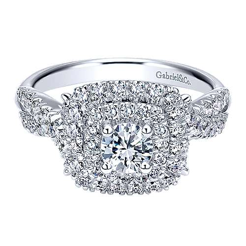 Precious 14k White Gold Round Double Halo Engagement Ring angle 1
