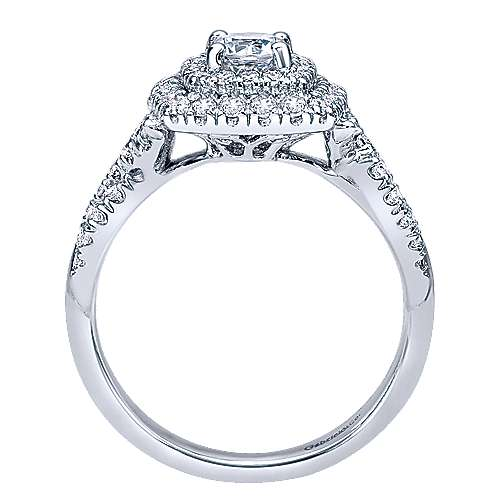 Precious 14k White Gold Round Double Halo Engagement Ring angle 2