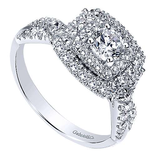 Precious 14k White Gold Round Double Halo Engagement Ring angle 3