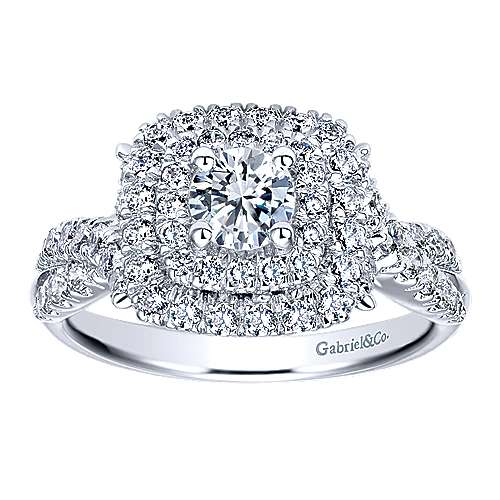 Precious 14k White Gold Round Double Halo Engagement Ring angle 5