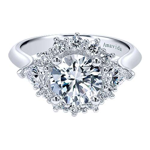 Gabriel - Preeti 18k White Gold Round Halo Engagement Ring