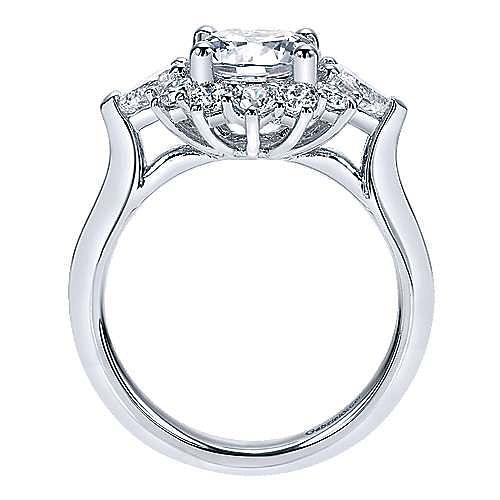 Preeti 18k White Gold Round Halo Engagement Ring angle 2