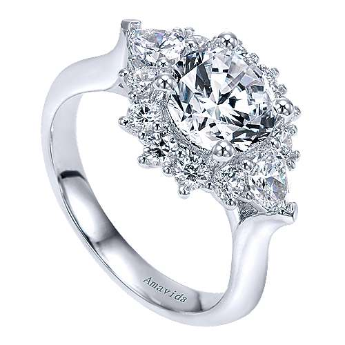 Preeti 18k White Gold Round Halo Engagement Ring angle 3