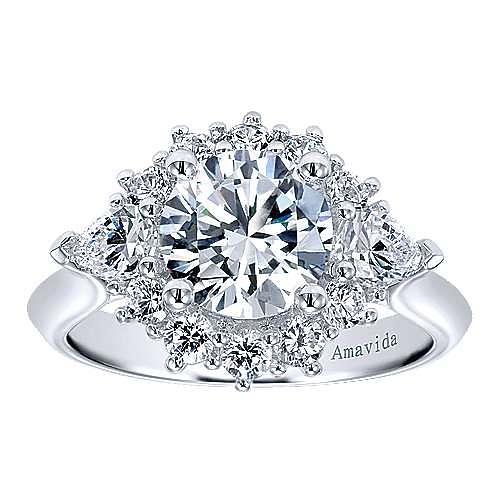 Preeti 18k White Gold Round Halo Engagement Ring angle 5