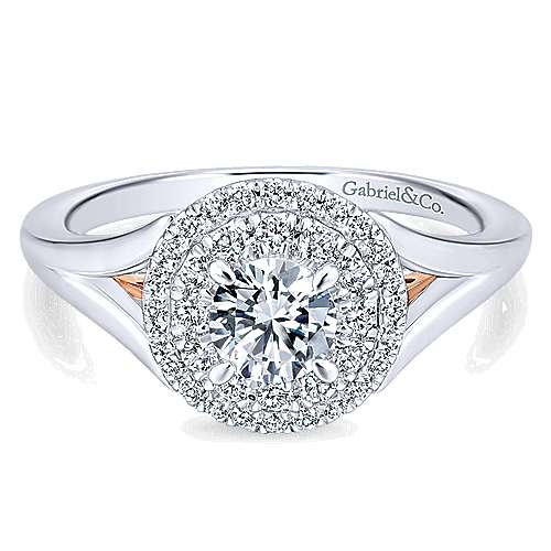 Gabriel - Pride 14k White And Rose Gold Round Double Halo Engagement Ring