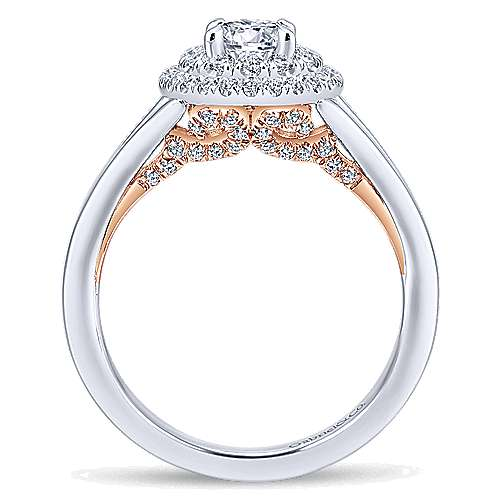 Pride 14k White And Rose Gold Round Double Halo Engagement Ring angle 2