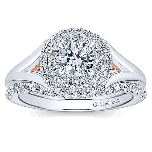 Pride 14k White And Rose Gold Round Double Halo Engagement Ring angle 4