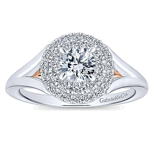 Pride 14k White And Rose Gold Round Double Halo Engagement Ring angle 5