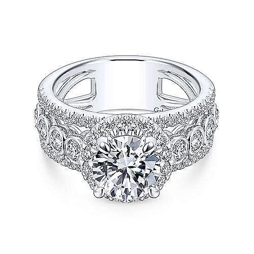 Gabriel - Prima 18k White Gold Round Halo Engagement Ring