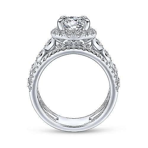 Prima 18k White Gold Round Halo Engagement Ring angle 2