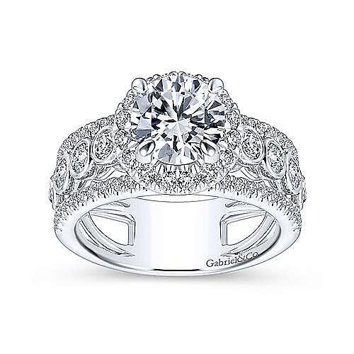 Prima 18k White Gold Round Halo Engagement Ring angle 5