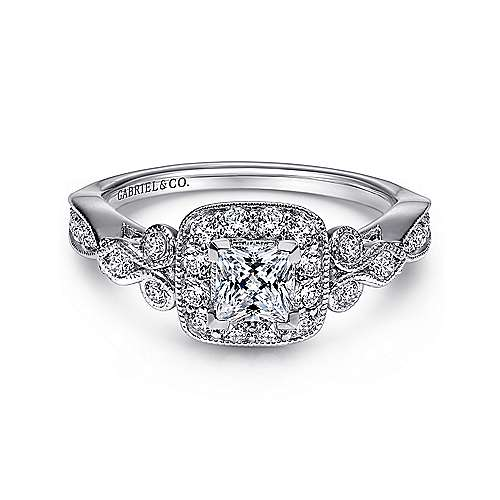 Gabriel - Primavera 14k White Gold Princess Cut Halo Engagement Ring