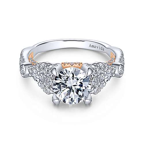 Prime 18k White And Rose Gold Round Twisted Engagement Ring angle 1