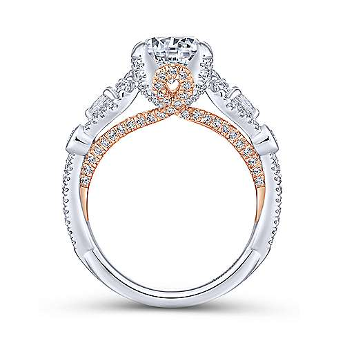 Prime 18k White And Rose Gold Round Twisted Engagement Ring angle 2