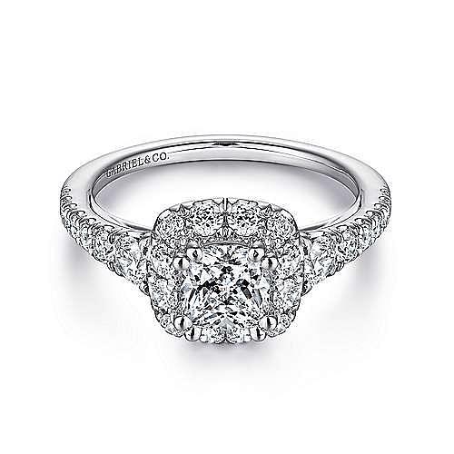 Gabriel - Priscilla 14k White Gold Cushion Cut Halo Engagement Ring
