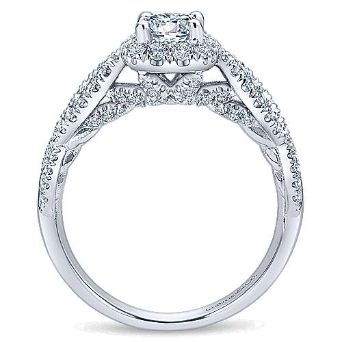 Prive 14k White Gold Round Halo Engagement Ring angle 2