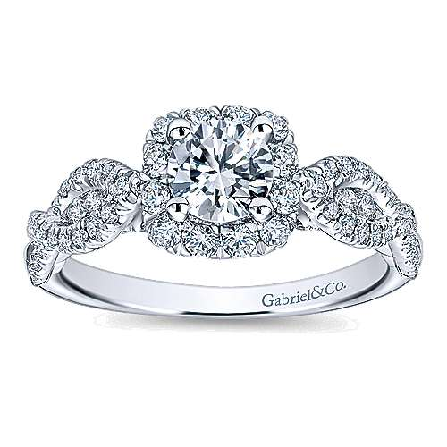 Prive 14k White Gold Round Halo Engagement Ring angle 5