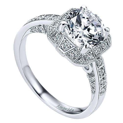 Prosper 18k White Gold Round Halo Engagement Ring angle 3