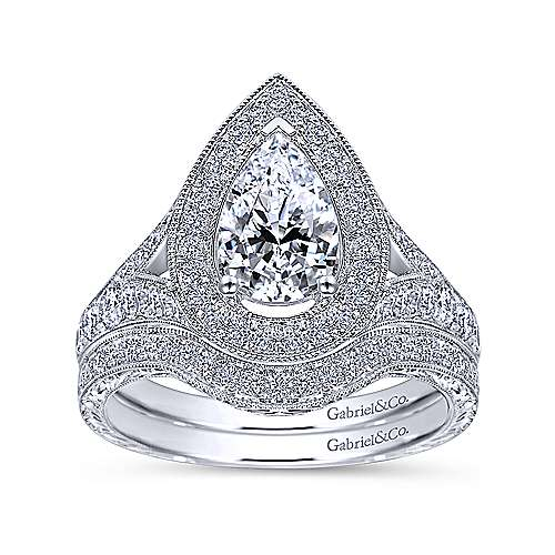 Prudence 14k White Gold Pear Shape Halo Engagement Ring angle 4