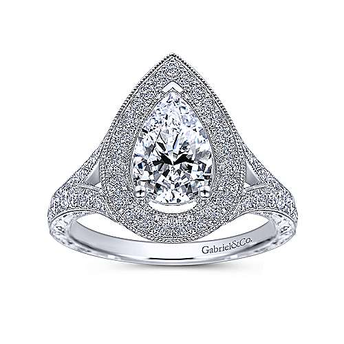 Prudence 14k White Gold Pear Shape Halo Engagement Ring angle 5