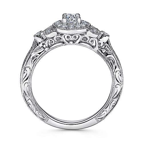 Pura 14k White Gold Round Halo Engagement Ring angle 2