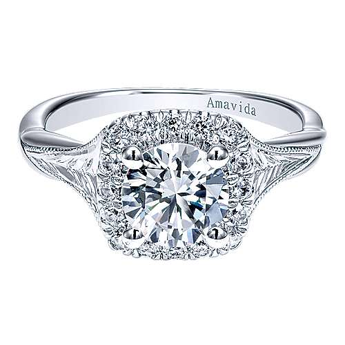 Gabriel - Pure 18k White Gold Round Halo Engagement Ring