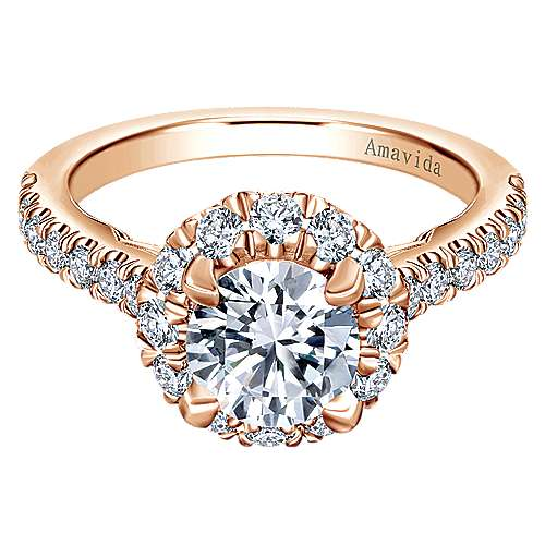Gabriel - Queen 18k Rose Gold Round Halo Engagement Ring