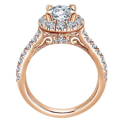 Queen 18k Rose Gold Round Halo Engagement Ring angle 2