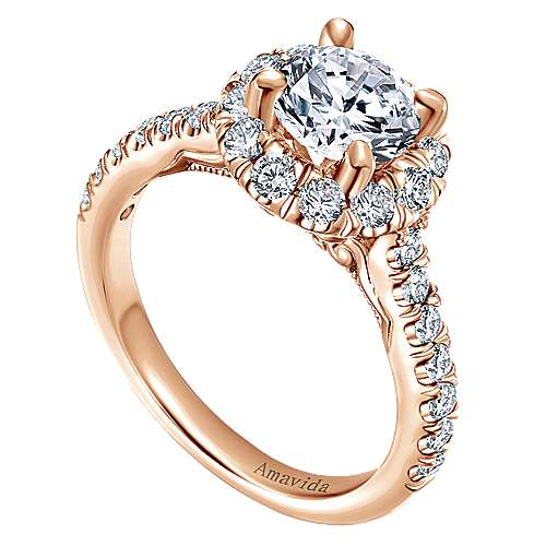 Queen 18k Rose Gold Round Halo Engagement Ring angle 3