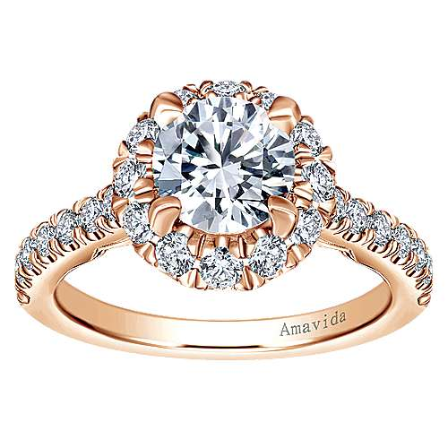 Queen 18k Rose Gold Round Halo Engagement Ring angle 5