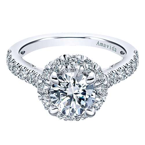 Gabriel - Queen 18k White Gold Round Halo Engagement Ring